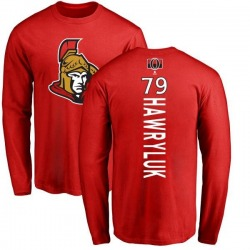 Men's Jayce Hawryluk Ottawa Senators Backer Long Sleeve T-Shirt - Red